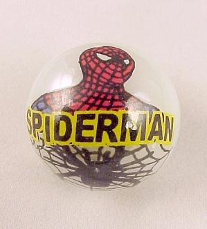 Spiderman Man Spider Web Super Hero Glass Marble NEW (Image1)