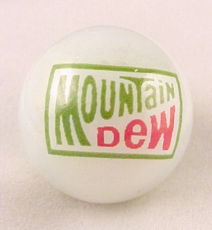 Mountain Dew Soda Pop Logo Glass Collectors Marble
