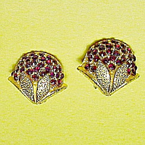 Floral Red Rhinestone Clip on Earrings Brushed Goldtone (Image1)