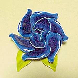Enameled Blue Rose Pin Brooch Vintage Enamel Jewelry (Image1)
