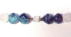Opalescent Blue Slag Glass Beaded Necklace Beads (Image1)