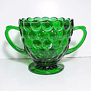 Anchor Hocking Forest Green Bubble Sugar Bowl Fire King (Image1)