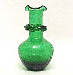 Green Crackle Glass 5 Inch Vase W/ Applied Rigaree