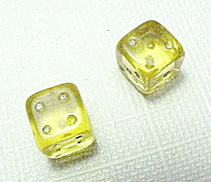 Pair Tiny Yellow Czech Art Glass Dice Vintage Poker