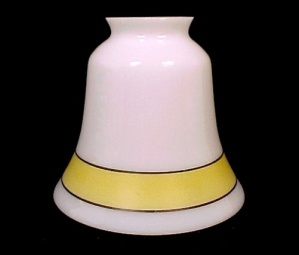 Bell Milk Glass Light Shade W/ Yellow Band Chandelier Ceiling Fan Wall