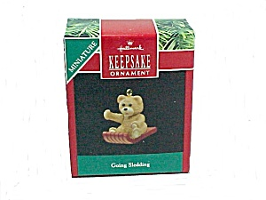 1990 Hallmark Christmas Tree Ornament Going Sledding Miniature Bear
