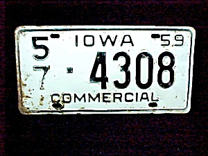 1959 Linn Co Iowa Ia License Plate Auto Car Commercial Truck Vehicle