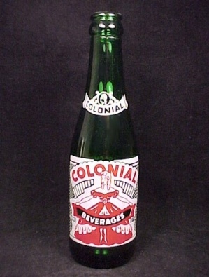 Colonial Beverages Green Glass Soda Pop Bottle 7 Oz