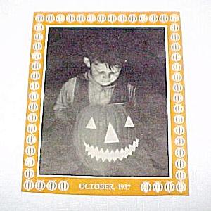 1937 Vintage Halloween Jack-O-Lantern Scrapbook Print (Image1)