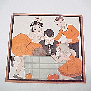 1930s Vintage Halloween Print Bobbing For Apples