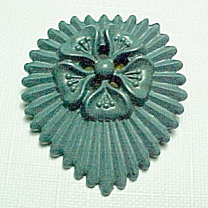 Green Floral Plastic Pin Brooch Vintage Costume Jewelry (Image1)