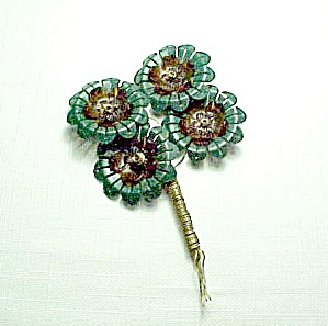 Green Brown Floral Plastic Pin Brooch Vintage Jewelry (Image1)