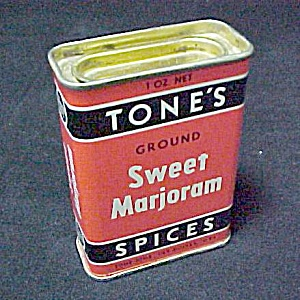 Tones Sweet Majoram Spice Advertising Tin Vintage