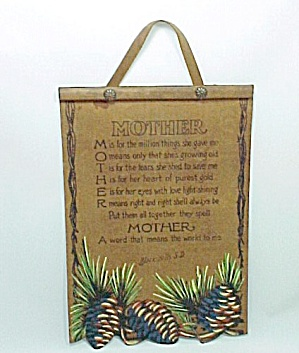 Vintage Mother Motto Print Wall Hanging Plaque Leather South Dakota Sd