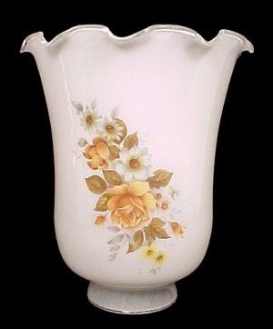 White Glass Rose Floral Light Lamp Shade Chandelier Ceiling Fan  (Image1)