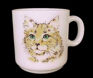 Milk Glass Kids Mug Cup Green Eyed Kitten Kitty Cat Vintage (Image1)