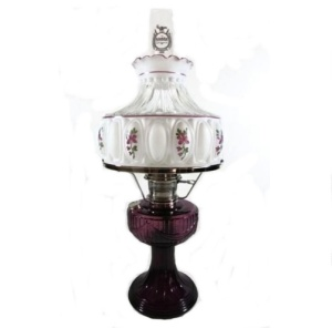 Aladdin Lincoln Drape Electric Lamp Amethyst Glass Nickel Plated With