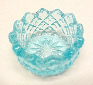 Sky Blue English Hobnail Glass Open Salt Dip Cellar Sawtooth