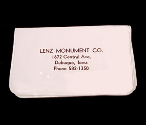 Dubuque Iowa Lenz Monument Co Advertising Sewing Manicure Kit Premium