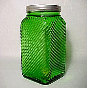 Owens-Illinois Forest Green Depression Era Glass 40oz Tea Canister Jar (Image1)