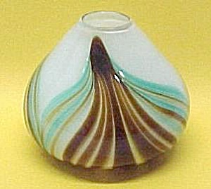 Studio Hand Blown Art Glass Vase Vintage - Signed Topic