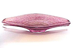 Cranberry Aventurine Italian Art Glass Oval  Bowl Dish (Image1)