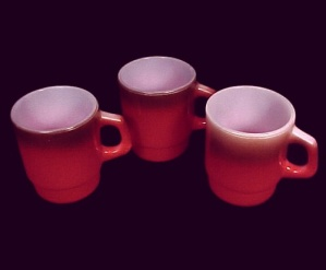 Set of 3 Fire King anchor Hocking Coffe Mug Cup Red (Image1)