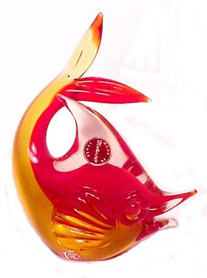 Murano Glass Paperweight Leaping Fish Amberina W/ Tag