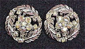 Aurora Borealis Rhinestone Clip Earrings Goldtone (Image1)