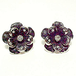 Coro Black Floral Flower Rhinestone Screw Back Earrings (Image1)