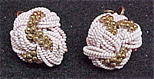 Vintage Pink & Goldtone Twist Knot Screw Earrings (Image1)