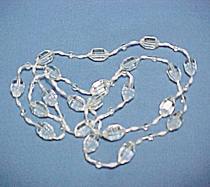 Vintage Czech Faceted Clear Glass Beaded Necklace Beads (Image1)