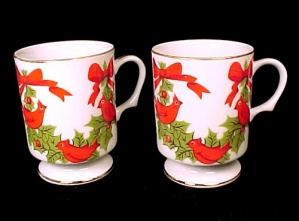 Lefton China Christmas Cardinals & Holly Berries 2 Mugs