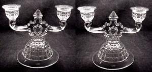 Pair Heisey Victorian 2-lite Candlesticks Signed Candle Holder