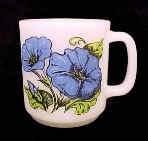 GlasBake Milk Glass Blue Morning Glory Coffee Mug Cup (Image1)