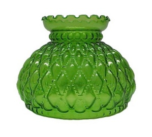 Green Glass Diamond Quilt Beaded 7 in Oil Lamp Shade Quilted Student (Image1)