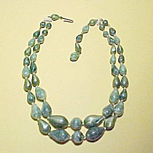 2 Strand Green Plastic Beaded Choker Necklace Vintage (Image1)