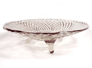 Clear Glass Swirl Ribbed 3 Footed Bowl 1950s Vintage