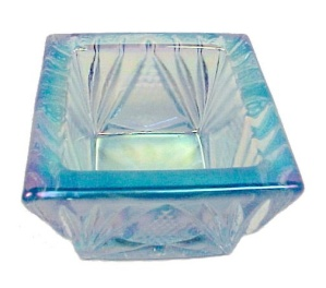 Lt Blue Carnival Glass Square Open Salt Dip Cellar