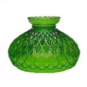Diamond Quilted Green Glass 10 in Oil Lamp Shade Student AS IS (Image1)