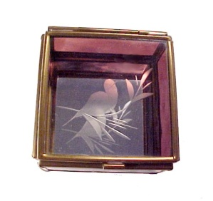 Amethyst Glass Brass Trinket Box w Etched Bird Vintage (Image1)