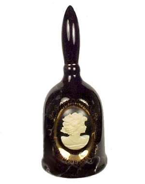 Cameo Bell Figurine Marbled Black w/ Gold Filigree Lace (Image1)
