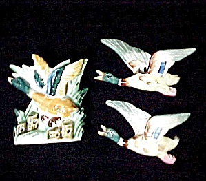 3 Vintage Flying Duck Wall Pocket Planter Vase Japan (Image1)