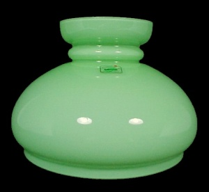 Cased Green Glass 7 in Student Lamp Shade Oil Kerosene  (Image1)