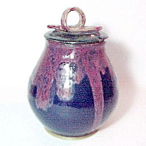 Studio Art Pottery Hand Thrown Navy Maroon Covered Jar (Image1)