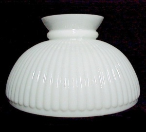 Ribbed Milk Glass 10 In Kerosene Oil Student Lamp Shade As Is