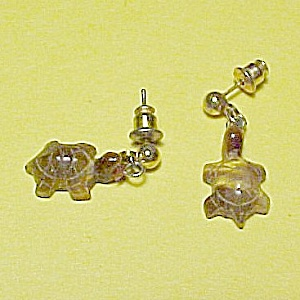 Tiger Eye Turtle Tortoise Dangle Post Earrings Figural Figures (Image1)