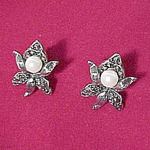 Floral Avon Marcasite F Pearl Post Earrings (Image1)