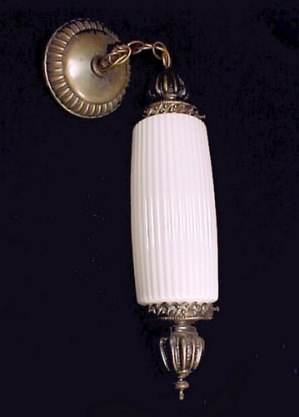 Pendant Light Fixture Mid Century w/ Ribbed Milk Glass Cylinder Shade  (Image1)