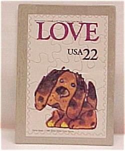 4 USA Postage Stamp Puzzle Postcard LOVE Valentine PC (Image1)